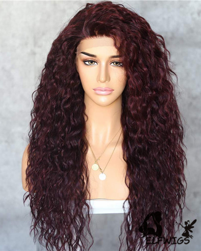 SD100-26 '' Shoulder Length Red Brown Curly Synthetic Lace Front Wig
