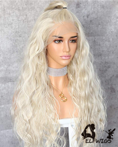 SD099-24 '' Shoulder Length Pearl White Wavy Synthetic Lace Front Wig