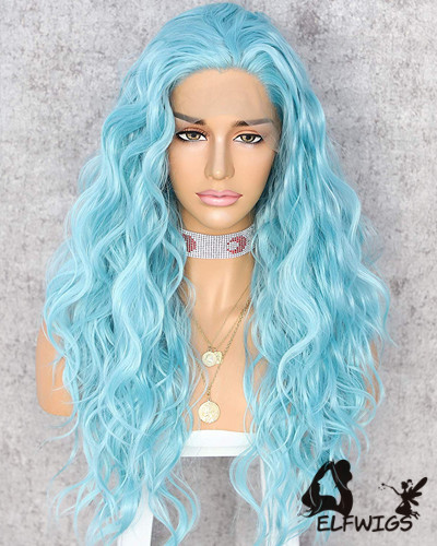 Sd097 24 Shoulder Length Sky Blue Wavy Synthetic Lace Front Wig