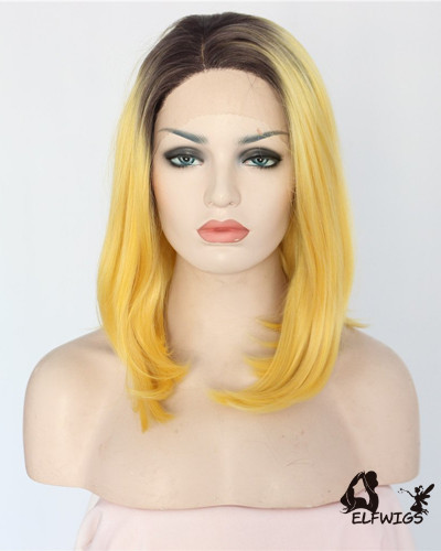 SD103-14 '' Gradient yellow fashion bob Synthetic Lace Front Wig