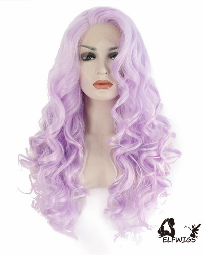 SD090-26 '' lavender fluffy curly wig synthetic lace front wig