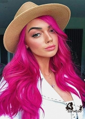SD083-24 '' stylish fuchsia wavy synthetic lace front wig