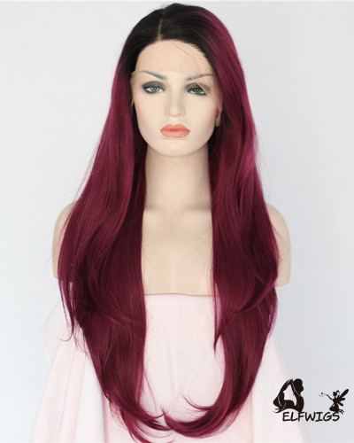 SD102-26 '' Red wine long straight hair Synthetic Lace Front Wig